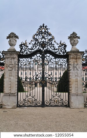 """Entrance gate of the Esterhazy Palace in Fertod. It is a huge complex, known as the """"Hungarian Versailles"""", built by Prince Miklos Esterhazy in the middle of the 18th century. - stock photo"""