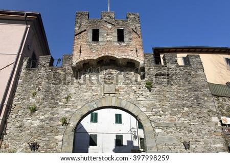 Entrance gate  of the medieval town Barga in Lucca province, Tuscany, Italy - stock photo