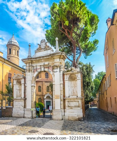 Entrance gate to famous Basilica di San Vitale, one of the most important examples of early Christian Byzantine art in western Europe, in Ravenna, region of Emilia-Romagna, Italy - stock photo