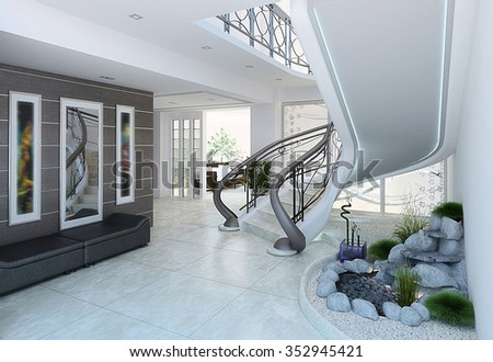 Beautiful Entrance Hall Decorating Ideas, 3d Render
