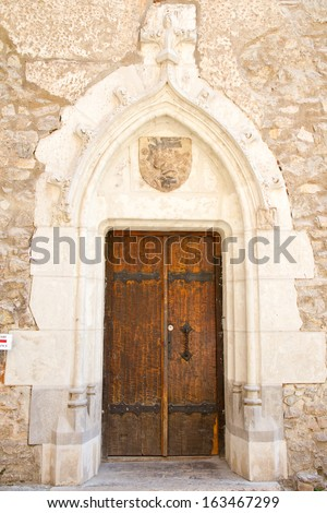 Entrance in a medieval castle in Romania