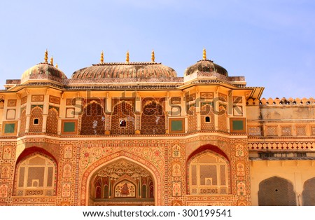 Entrance in royal palace, Amber Fort near Jaipur, Rajasthan, India - stock photo