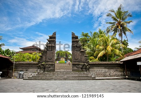 Entrance in Tanah Lot Temple, the most important hindu temple of Bali, Indonesia. - stock photo