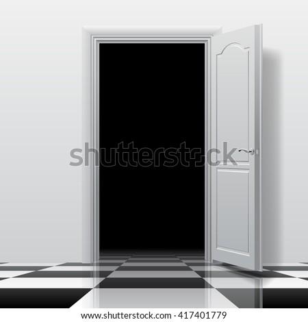 Open Door Dark Room entrance into dark room white open stock vector 416526244