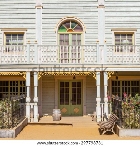 Entrance of a Far West style country house - stock photo