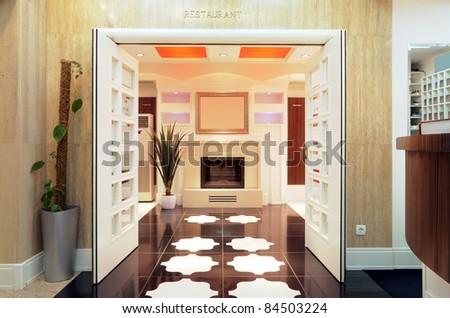 Entrance of a hotel restaurant, interior design.