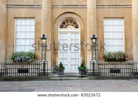Entrance of a Luxurious English Town House - stock photo