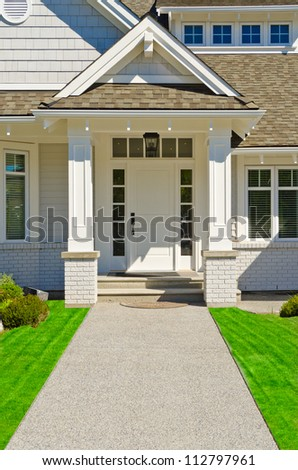 Entrance of a luxury house in Vancouver, Canada. - stock photo