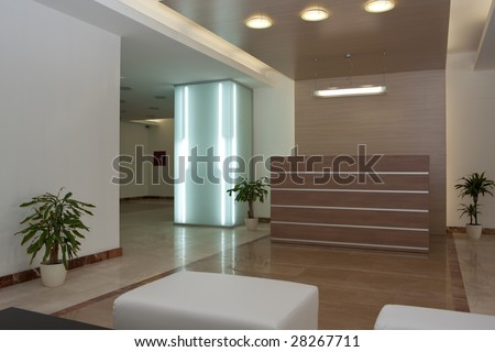 Entrance of a modern building - stock photo
