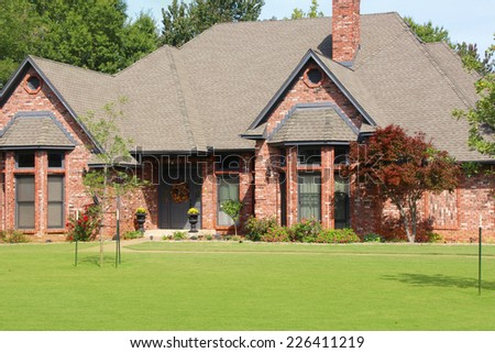 Entrance of a nice single family house - stock photo