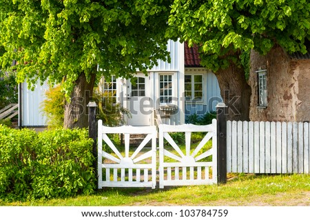 Entrance of a typical residential house on the island of Oeland, Sweden - stock photo