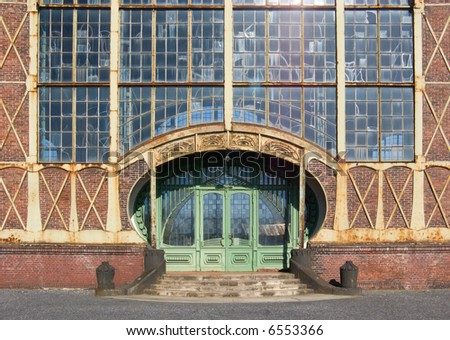 "Entrance of an Art Nouveau Machine Shop of a Coal Mine ""Zeche Zollern"", Dortmund, Germany - stock photo"