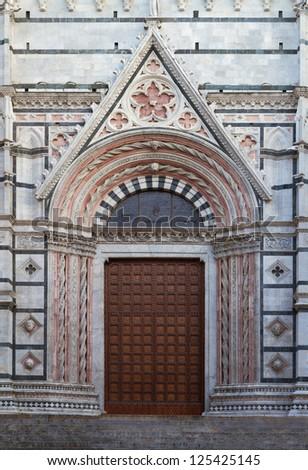 Entrance of Cathedral of Siena, Tuscany, Italy - stock photo