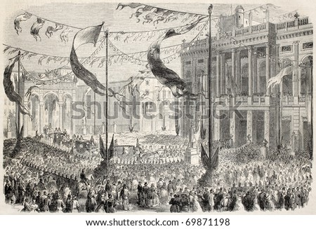 Entrance of King Victor Emmanuel at Palazzo Madama, in Turin, opening Italian Parliament. From drawing of Durand, after sketch of Teja,  published on L'Illustration, Journal Universel, Paris, 1860 - stock photo