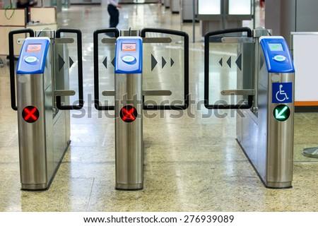 Entrance of metro railway station for cripple. - stock photo