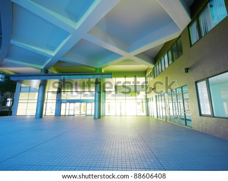 Entrance of modern building - stock photo