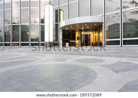 entrance of modern office building - stock photo