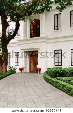 Entrance of old British house - stock photo