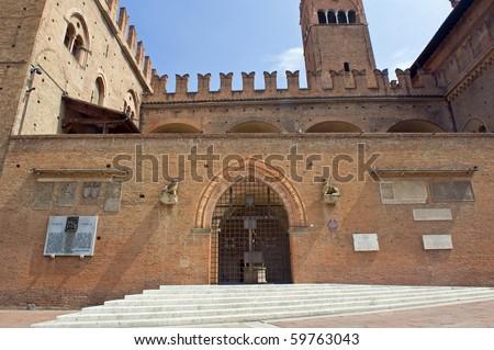 Entrance of Palazzo del Podesta, Piazza Maggiore, Bologna. Italy. - stock photo