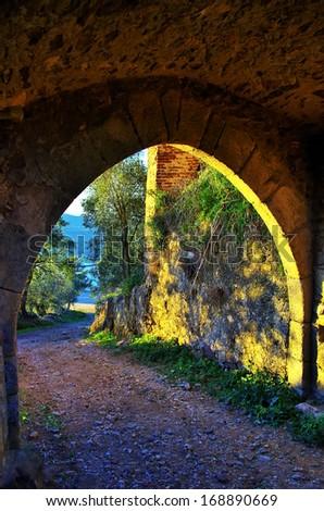 Entrance of portuguese castle - stock photo