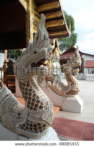 Entrance of temple, Wat Phra That Si Chom Thong Wora Wiharn, near Chiang Mai, Thailand