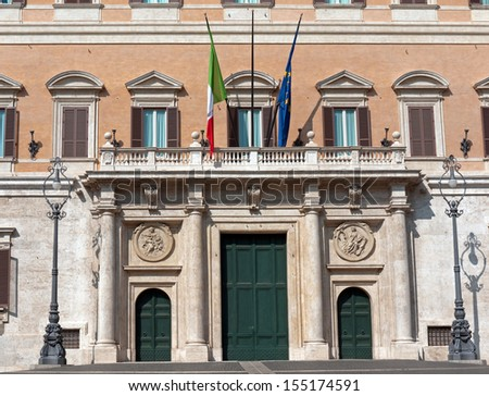 Entrance of the Chamber of Deputies of the Italian Parliament, Rome, Italy  - stock photo
