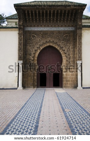 Entrance of the mausoleum decorated with cedar wood inlaid - Meknes - Mausole? My Ismail - Best of Morocco - stock photo