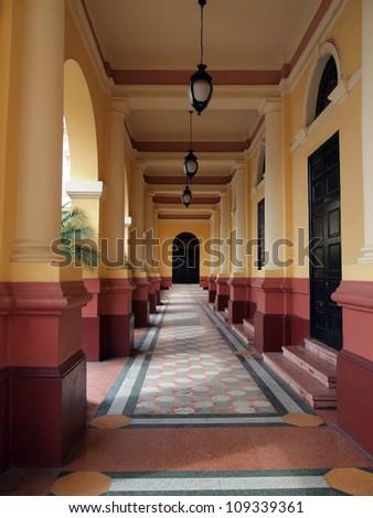 Entrance of the national theater in the Casco Viejo of Panama City, Panama - stock photo