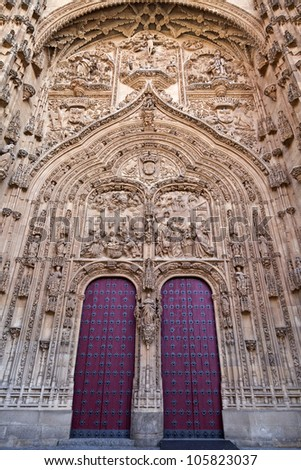Entrance of the New Cathedral (Catedral Nueva) in Salamanca, Spain