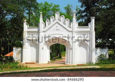 Entrance of the old church - stock photo
