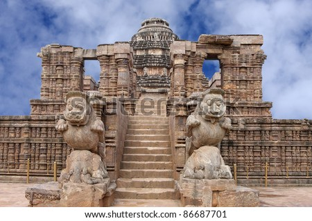 Entrance of the Sun temple Konark on clear sky - stock photo