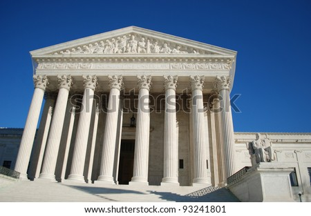 Entrance of the United States Supreme Court, Washington DC, USA / United States Supreme Court - stock photo