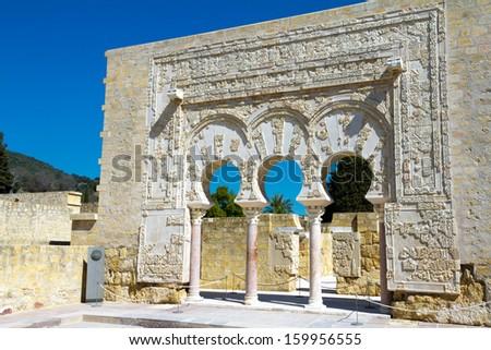 Entrance of Yafar's house, in archeological set of Madinat al-Zahra, Cordoba, Spain - stock photo