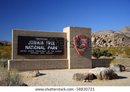 Entrance sign, Joshua Tree National Park, California - stock photo