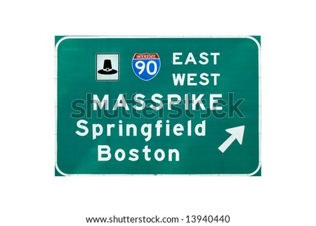 Entrance sign on interstate I-90 (Massachusetts turnpike) - stock photo