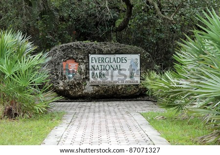 Entrance Sign to Everglades National Park, Florida - stock photo