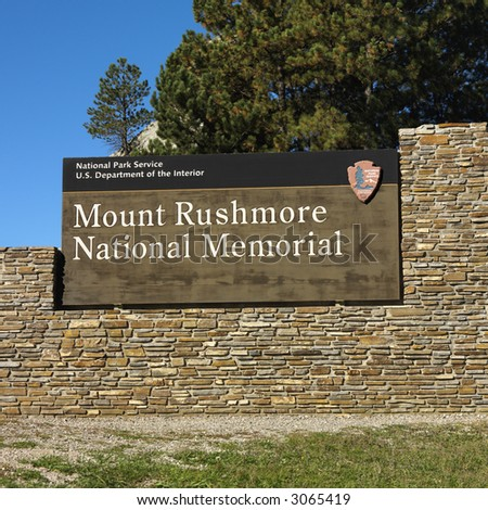 Entrance sign to Mount Rushmore National Memorial. - stock photo