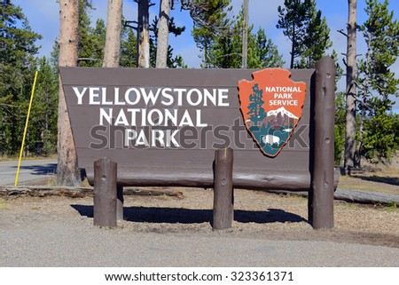Entrance sign to Yellowstone National Park, Wyoming, USA - stock photo