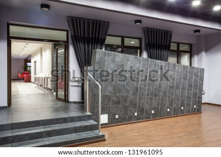 entrance- stairs and ramp for wheelchair - stock photo
