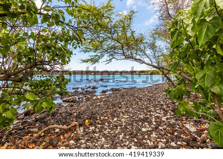 Entrance to a Beautiful Beach on a Tropical Island - stock photo