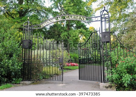 Entrance to a Beautiful Leafy Botanical Gardens - stock photo