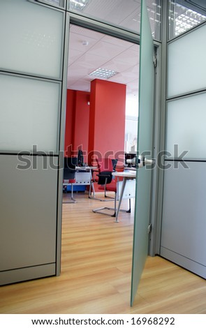 Entrance to a contemporary design office room - stock photo