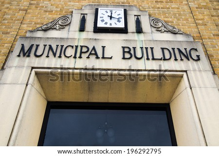Entrance to a county Municipal Building. - stock photo