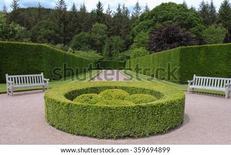 Entrance to a Formal Garden in Devon, England, UK - stock photo