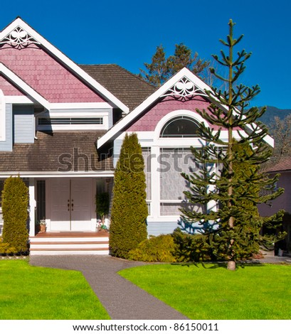 Entrance to a luxury house in Vancouver, Canada. - stock photo