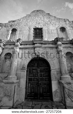 Entrance to Alamo mission national landmark in San Antonio, Texas - stock photo