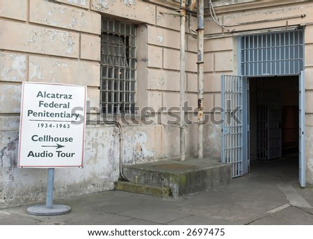 Entrance To Alcatraz Jail - stock photo