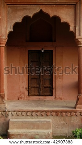 Entrance to an old abandoned temple. Fatehpur Sikri temple complex, Rajasthan, India - stock photo