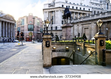 Entrance to Bank tube station in London - stock photo
