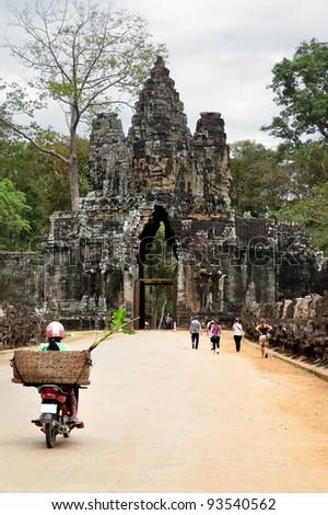 Entrance to Bayon temple at Angkor, Cambodia - stock photo